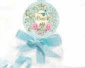 """French, Paris, stickers, blue, ornate frame, pink flowers, gold crown, vintage style, blue, butterfly, seals, glossy 2.25"""" diameter"""