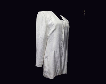 Vintage Jacket, Silk, Brocade, White, 1980's, Big Shoulders, Medium