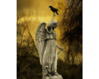 Gothic Angel And Crow, Gold Hues, Ethereal, Blackbird Art, Raven, Trees, Surreal Photograph, Bird - Golden Eclipse