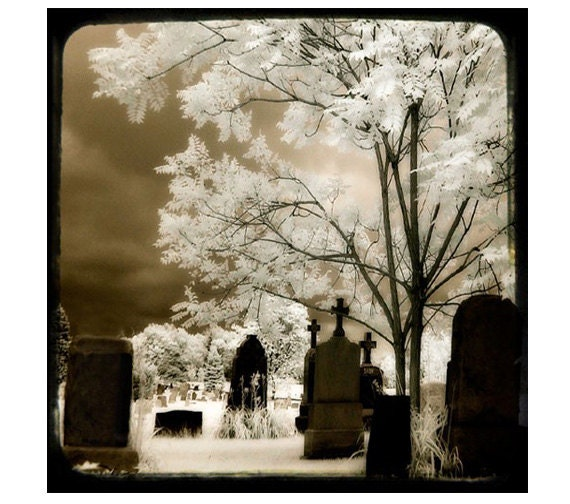 Cemetery, Infrared Photo, Surreal Imagery, Invisible Light Photography, Professional Print - Secret Graveyard