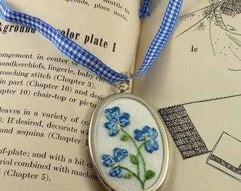 Pendant Hand Embroidered Blue Flowers with Adjustable Ribbon Mother's Day Bride Bridesmaid