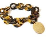 Tortoise and gold disc monogram bracelet Sterling silver also available