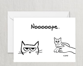 Angry Cat and the New Kitten - Funny Greeting Card for Cat Lovers