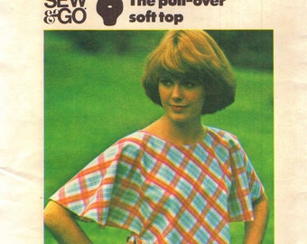Butterick 4237 Vintage 1970s Side Ties Pullover Top SEW & GO