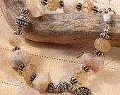 Chunky Boho Stone Bracelet, Earth Tones Brown Tan, Agate, Golden Rutilated Quartz Sterling Silver Bali, Charm Bracelet, Ocean, Rustic BSAN