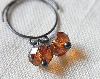 Oxidised Sterling Silver Ear-rings with Topaz Crystal Drops // Faceted Swarovski Crystal Beads // Simple + Delicate (One Pair)