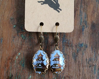 little pagoda - vintage tin and brass earrings