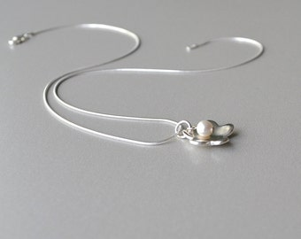 Fine Silver Necklace, Simple Necklace, Silver Flower Pendant, Artisan Jewelry, Silver Pearl Necklace, Handmade Buffalo NY, PMC