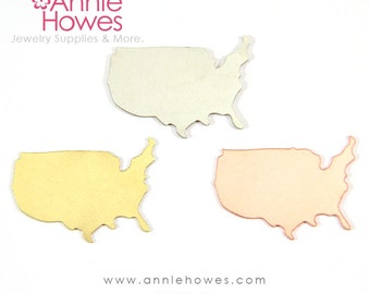 Metal Stamping Blank USA United States Shape in Copper, Brass, and Nickel Silver