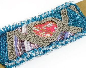 Bead Embroidered Cuff - Aphrodite, Purple, Blue, and Gray, Heart, Leather, Valentine's Day