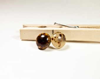 Handmade Amber Lucite Stud Earrings, Synthetic Amber Lucite Post Earrings, Surgical Steel Posts, Ready to Ship