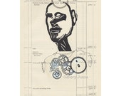 original book art, linocut portrait, goatee, cog and gears