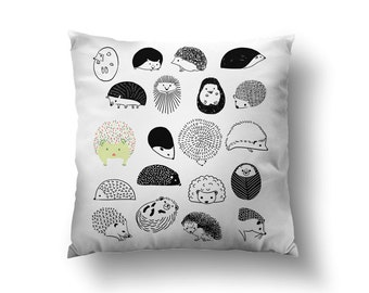 20 Hedgehogs Throw Pillow, With or Without Insert - Made in USA
