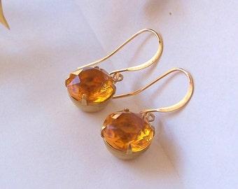 Amber Topaz Glass Earrings, State Style Earrings, Yellow Earring, Rhinestone Earrings, Bridesmaid, Old Hollywood