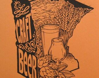 Enjoy MN Craft Beer screenprint - orange -