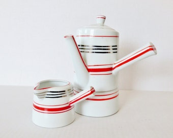 Japanese mid century modern coffee tea pot with creamer