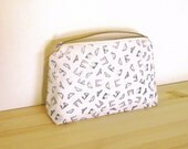 Cotton Zip Pouch Hand Printed with Underwear Motif Large