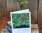 """PETER PAN """"off to neverland!"""" faerie tale feet greeting card with envelope blank inside original illustration"""