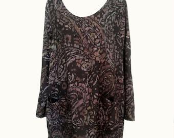 Womens Tunic Dress Spring Top Black Paisley A Line w Pockets Plus Size