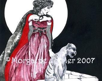 Vampiress and Gargoyle Full Moon Art Print Dark Fantasy Gothic Horror Pen and Ink Watercolours Illustration
