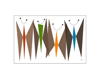 Butterflies (Browns) Art Print Mid Century Modern / Atomic Age Inspired in Various Colors & Sizes