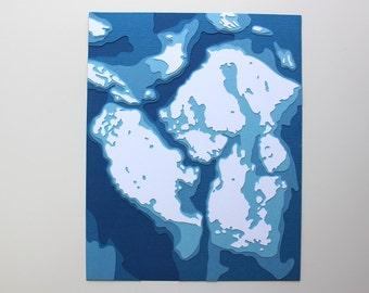 San Juan Islands - 8 x 10 layered papercut art in your choice of colors