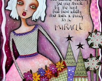 Girl Art Print, Storybook Art, Whimsical Art, Mixed Media,  8 x 10 or 5 x 6.5, Pink Green White, Text Art, Inspirational Art