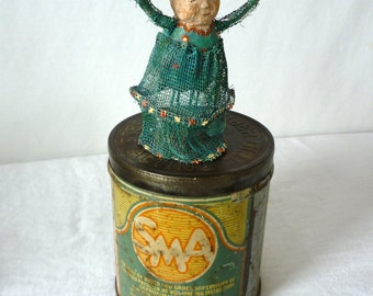Rusty Vintage Clabber Girl Tin And Child - Original Whimsical Mixed Media - How Big is Baby?  Soooo Big!