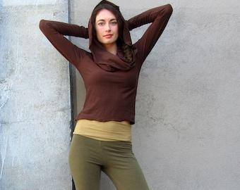 ORGANIC STRETCHY Super Cowl Simplicity Cropped Shirt ( organic cotton lycra ) - organic shirt