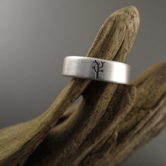 Family Tree Sterling Silver Wedding Ring