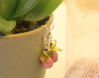 Massachusetts Love Orchid Earrings - Rhodonite