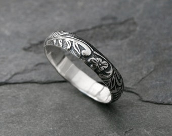 Sterling Silver Etched Ring Band, Embossed Stacking Ring, Floral Pattern, Leaves and Flowers, Wedding, Engagement, Promise