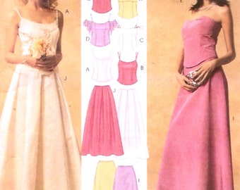 Brides skirt top or evening wear or brides outfit for wedding party sewing pattern McCalls 3863 Sz 6 to 12 UNCUT
