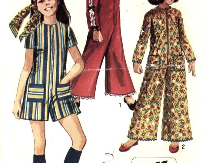 60s Girls Jumpsuit Simplicity 8569 vintage sewing pattern Retro mod style in two lengths Sz 6