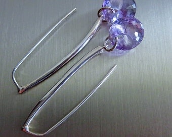 Pink Amethyst Hoops-Linear Sterling Silver-Contemporary Earrings