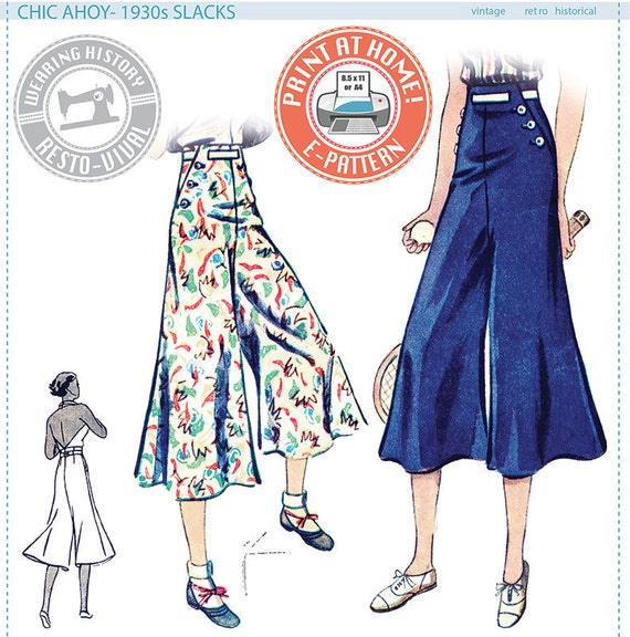 1930s Women's Pants and Beach Pajamas 1930s Slacks ONLY- Size Pack B- Wearing History PDF Sewing Pattern $9.99 AT vintagedancer.com