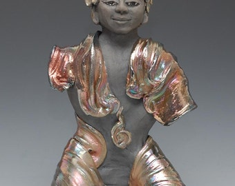 Raku Ceramic Buddha Statue With Chains by Anita Feng