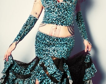 Gypsy Blue Mermaid skirt. Belly Dance. blue velvet glitter leopard print, black lace wide Skirt. Boho Fashion.