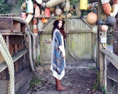 Fringe Kimono, Kimono Robe, Bridal Kimono, Bridal Robe, Boho Fringe Kimono, Peacock Zig Zag, Patterned Chiffon Robe, Norwegian Wood