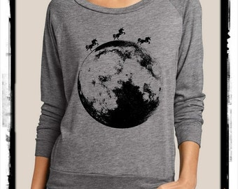 MOONICORN Unicorns Moon Heathered Slouchy Pullover long sleeve Girls Ladies shirt screenprint Alternative Apparel