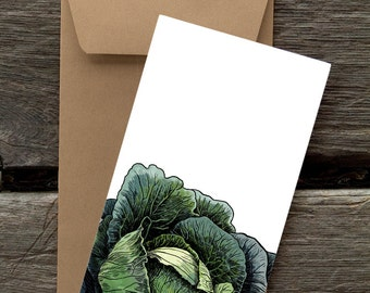 Cabbage  - 8 Blank flat notecards and envelopes