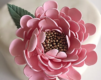 Pink Gold Peony Wedding Cake Topper Cake Flower Clay Flowers Wedding Cake Flower Decor Cake Design Handmade Cake Flower