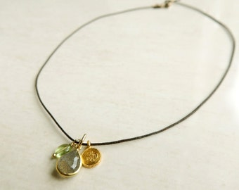 Largo Necklace with Labradorite Peridot and Gold Vermeil Charm Organic Natural
