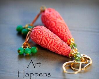 "Coral Teardrop Long Drop Earrings with Vintage Green Glass Dangles, ""Impress Me"""