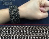 Cuff - DOUBLE Alligator Back - Alligator River - Black Steel Chainmaille Cuff