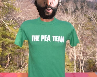 vintage 80s t-shirt the PEA TEAM opening crew wtf green soft thin tee shirt Small 70s