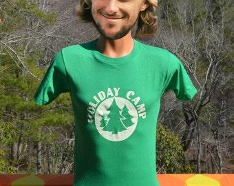 vintage 80s t-shirt HOLIDAY CAMP soft thin green nature trees summer tee shirt Small XS screen stars