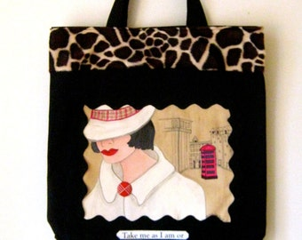TOTE LONDON LADY, handpainted tote, London, telephone, taupe, gift for woman, classy quote, hat, mysterious woman, red, Burberry