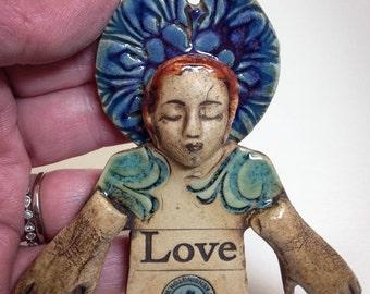 Ceramic Art Doll Wall Hanging, Love Angel Pottery Decor, Inspirational Wall Decor, Art Person Plaque, Art Ceramic, Garden Art