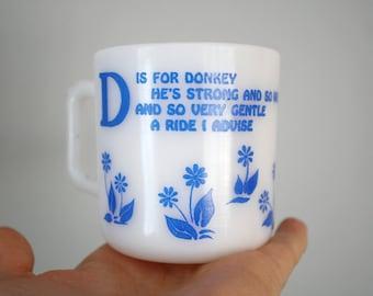 Vintage Hazel Atlas D is for Donkey Kiddie Ware Mug Cup